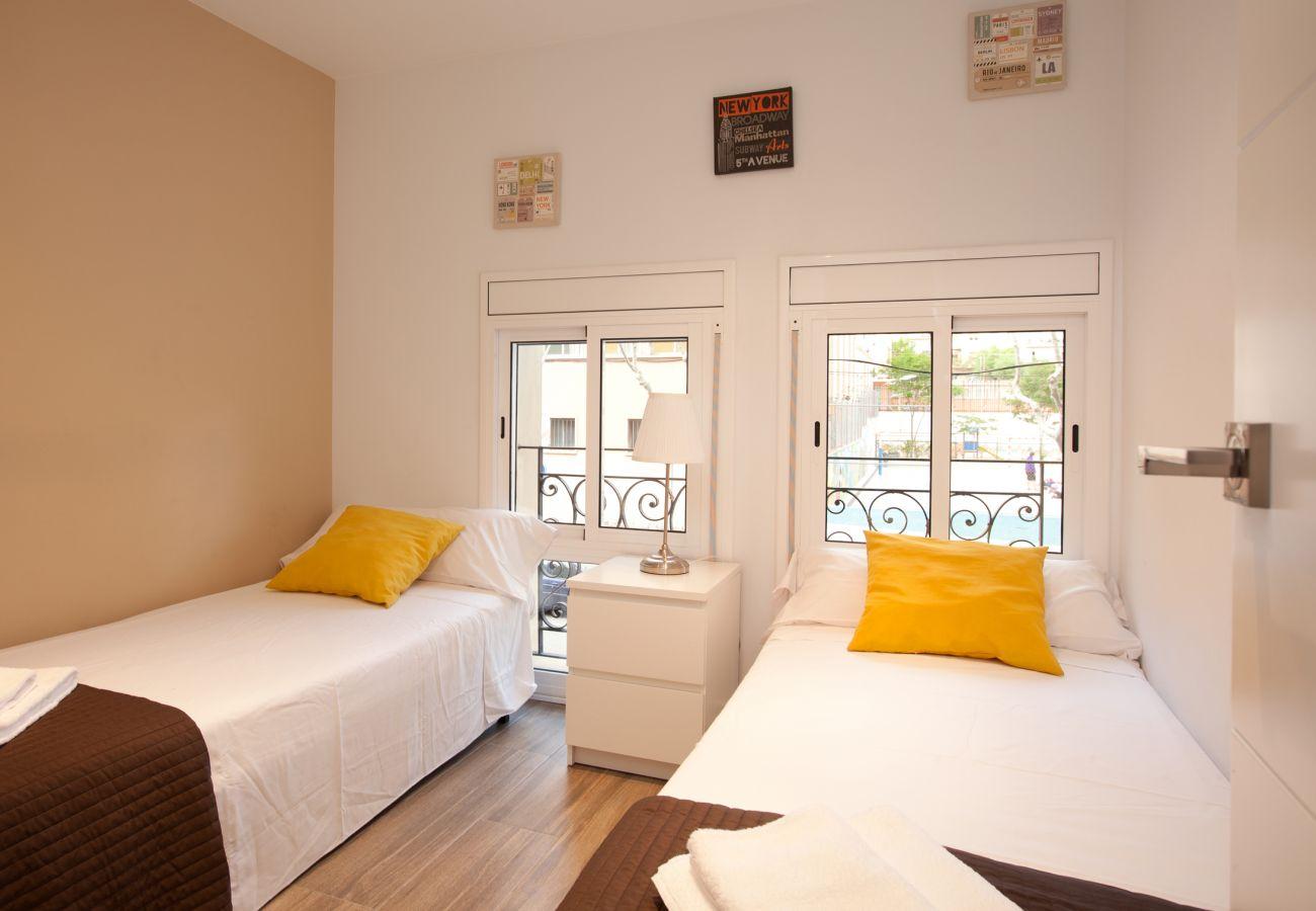 Chambre double avec 2 lits simples dans un appartement de 2 chambres près de la Sagrada Familia Barcelone