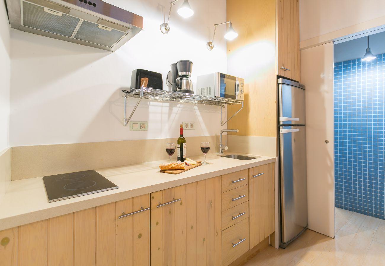 Cuisine basique avec plaque vitrocéramique dans un appartement près de la plage de la Barceloneta