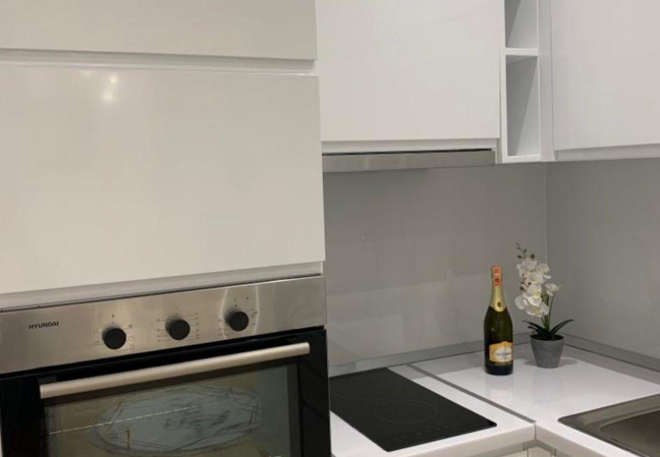 Détails de la cuisine - four, cuisinière et évier dans un appartement d'une chambre à Vlora
