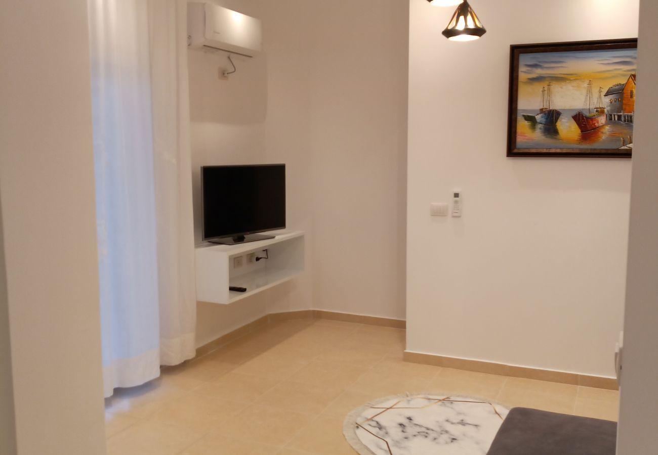 Détails de la zone commune - TV et peinture dans un appartement d'une chambre à Vlora
